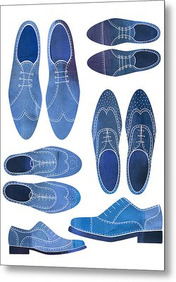 Blue Brogue Shoes Metal Print by Nic Squirrell
