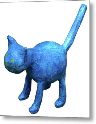 Blue Cat Metal Print by Maria Rosa