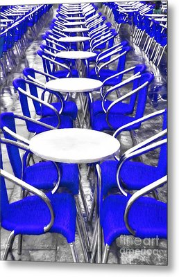 Blue Chairs In Venice Metal Print by Mel Steinhauer