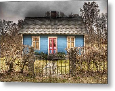 Blue Cottage Metal Print by Elisabeth Van Eyken