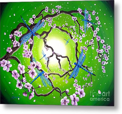 Blue Dragonflies In The Spring Metal Print by Laura Iverson