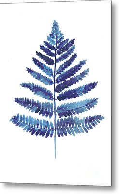 Blue Fern Watercolor Art Print Painting Metal Print by Joanna Szmerdt