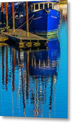 Blue Fishing Boat Reflection Metal Print by Garry Gay