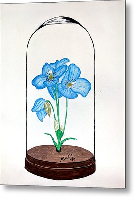 Blue Flower Under Glass Cloche Metal Print by Edwin Alverio