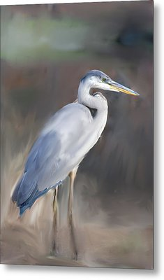 Blue Heron Painting  Metal Print by Don  Wright