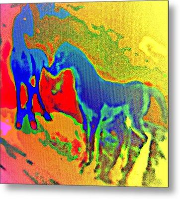 Blue Horses Having A Date  Metal Print by Hilde Widerberg
