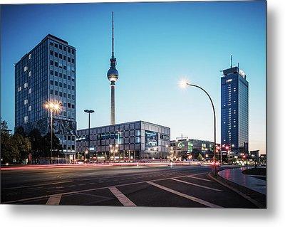 Blue Hour In Berlin - Alexanderplatz Square Metal Print by Alexander Voss