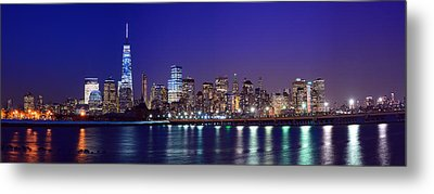 Blue Hour Panorama New York World Trade Center With Freedom Tower From Liberty State Park Metal Print by Raymond Salani III