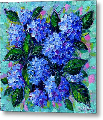 Blue Hydrangeas - Abstract Floral Composition Metal Print by Mona Edulesco