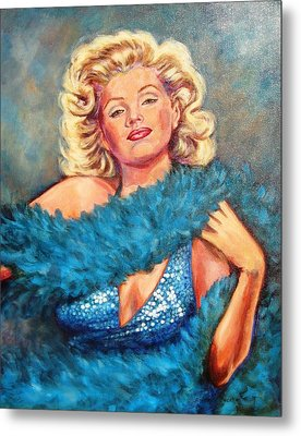 Blue Marilyn Metal Print by Beverly Sneath