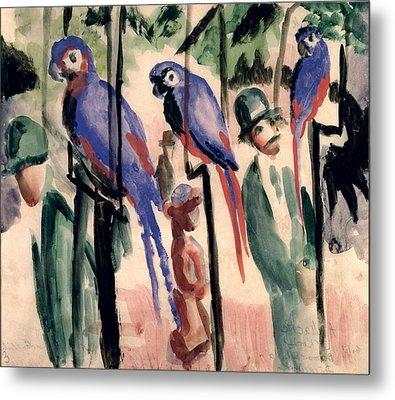 Blue Parrots Metal Print by August Macke