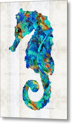Blue Seahorse Art By Sharon Cummings Metal Print by Sharon Cummings