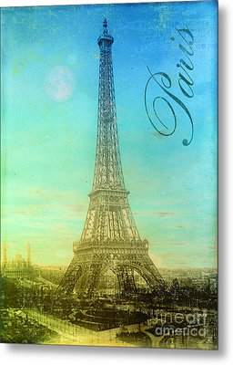 Blue Sky Eiffel Tower Metal Print by Mindy Sommers