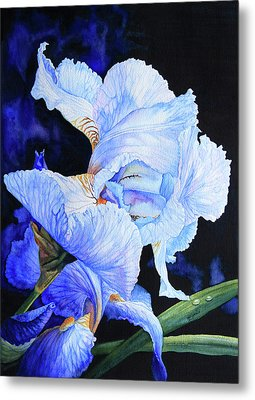 Blue Summer Iris Metal Print by Hanne Lore Koehler