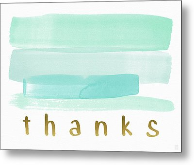 Blue Watercolor Stripe Thank You- Art By Linda Woods Metal Print by Linda Woods