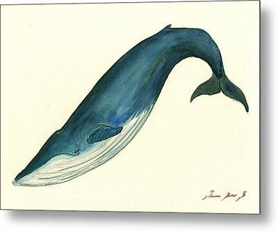 Blue Whale Painting Metal Print by Juan  Bosco