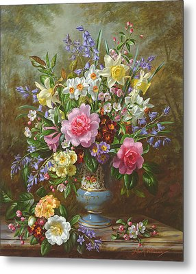 Bluebells Daffodils Primroses And Peonies In A Blue Vase Metal Print by Albert Williams