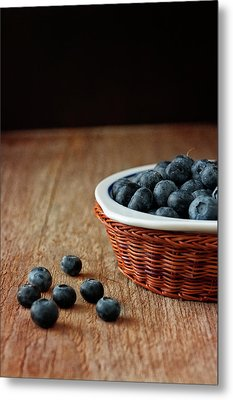 Blueberries In Wicker Basket Metal Print by © Brigitte Smith