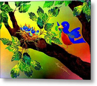 Bluebird Baby Breakfast Metal Print by Hanne Lore Koehler