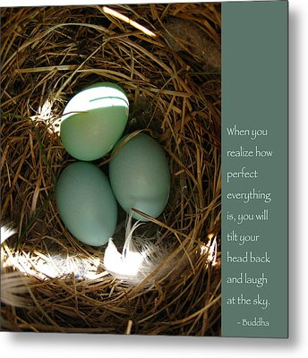 Bluebird Eggs With Buddha Quote Metal Print by Heidi Hermes