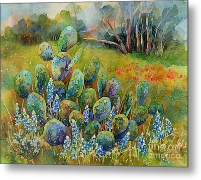Bluebonnets And Cactus Metal Print by Hailey E Herrera