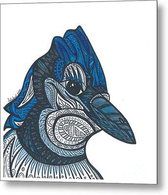 Bluejay Bird Metal Print by Allie Rowland