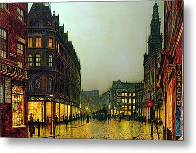 Boar Lane Metal Print by John Atkinson Grimshaw