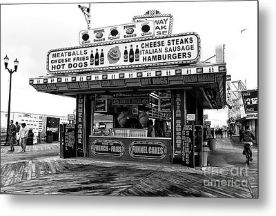 Boardwalk Comfort Mono Metal Print by John Rizzuto