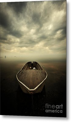 Boat And Storm Metal Print by Caio Caldas