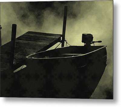 Boat In Fog Metal Print by Michael L Kimble