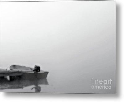 Boat In Fog On Lake Black And White Metal Print by Randy Steele