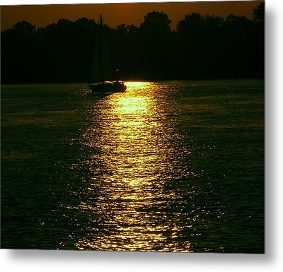 Boat In The Reflection Metal Print by D R TeesT