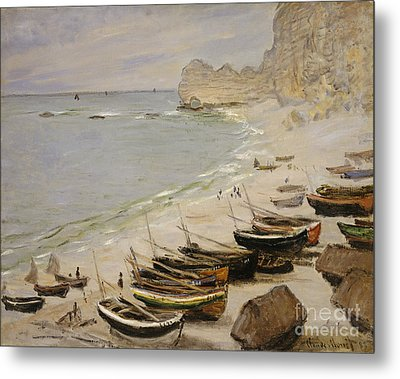 Boat On The Beach At Etretat Metal Print by Celestial Images