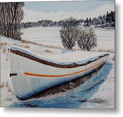 Boat Under Snow Metal Print by Marilyn  McNish
