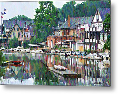 Boathouse Row In Philadelphia Metal Print by Bill Cannon