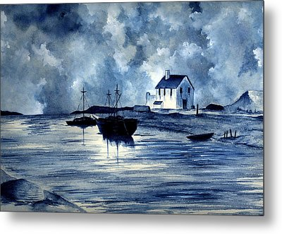 Boats In Blue Metal Print by Michael Vigliotti