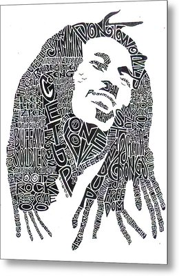 Bob Marley Black And White Word Portrait Metal Print by Kato Smock