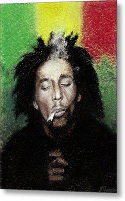 Bob Marley- Smoke Break Metal Print by Raymond L Warfield jr