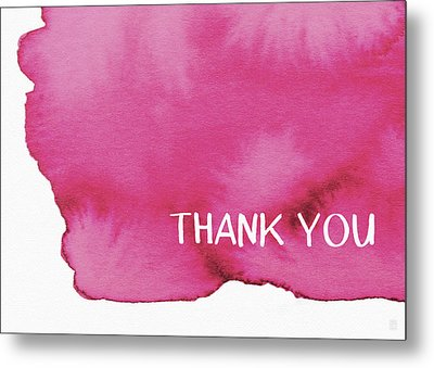 Bold Pink And White Watercolor Thank You- Art By Linda Woods Metal Print by Linda Woods