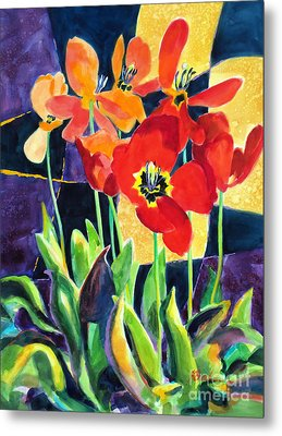 Bold Quilted Tulips Metal Print by Kathy Braud