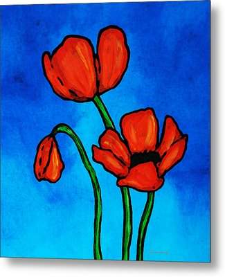 Bold Red Poppies - Colorful Flowers Art Metal Print by Sharon Cummings