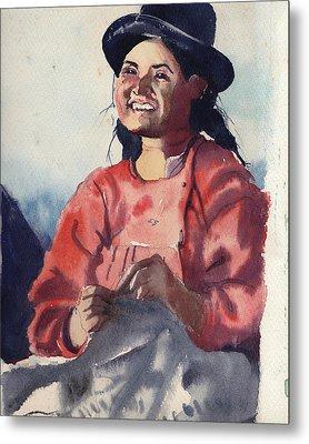 Bolivian Seamstress Metal Print by Gertrude Palmer