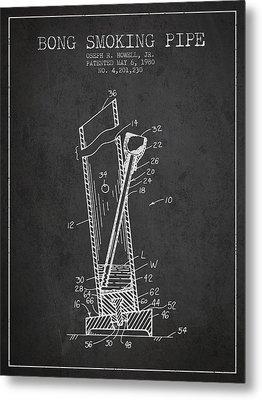 Bong Smoking Pipe Patent 1980 - Charcoal Metal Print by Aged Pixel