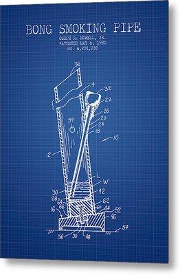 Bong Smoking Pipe Patent1980 - Blueprint Metal Print by Aged Pixel