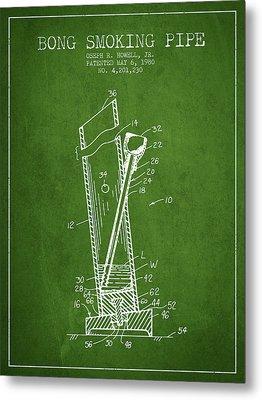 Bong Smoking Pipe Patent1980 - Green Metal Print by Aged Pixel