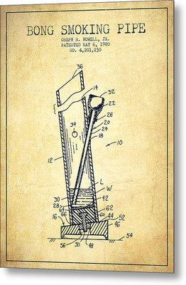Bong Smoking Pipe Patent1980 - Vintage Metal Print by Aged Pixel