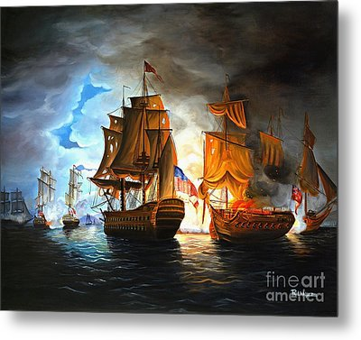 Bonhomme Richard Engaging The Serapis In Battle Metal Print by Paul Walsh