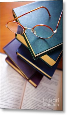Books And Spectacles Metal Print by Carlos Caetano