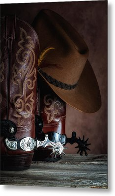 Boots And Spurs Metal Print by Tom Mc Nemar