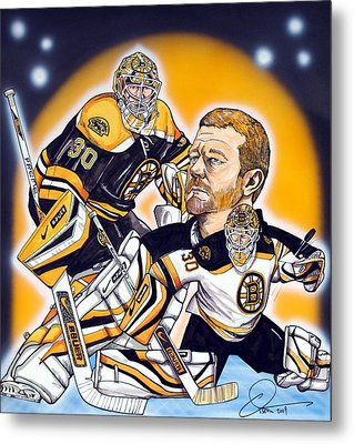 Boston Bruins Goalie Tim Thomas Metal Print by Dave Olsen